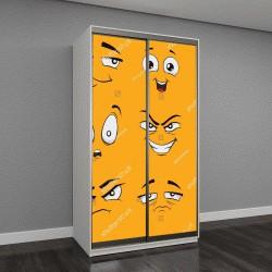 """Шкаф купе с фотопечатью """"смайлики на желтом фоне"""""""