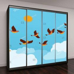 """Шкаф купе с фотопечатью """"Стая птиц летит в небе с облаками и солнцем"""""""