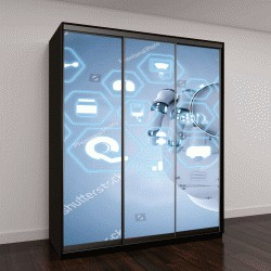 """Шкаф купе с фотопечатью """"3D визуализации медицинской интерфейс робот-рука, держащая стетоскоп"""""""