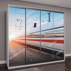 """Шкаф купе с фотопечатью """"высокоскоростной пассажирский поезд в движении по железной дороге на закате"""""""