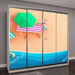 """Шкаф купе с фотопечатью """"пляж, шезлонг и зонт"""""""