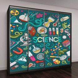 """Шкаф купе с фотопечатью """"Векторный набор, тема науки,предметы и символы"""""""