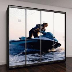 """Шкаф купе с фотопечатью """"красивая девушка катается на водных лыжах в море на закате"""""""