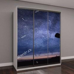 """Шкаф купе с фотопечатью """"Силуэт телескоп и звездное ночное небо в фоновом режиме"""""""