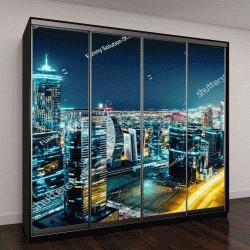 """Шкаф купе с фотопечатью """"Фантастический вид на большой город ночью с подсветкой"""""""