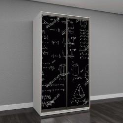 """Шкаф купе с фотопечатью """"Доска с геометрическими фигурами и формулами"""""""