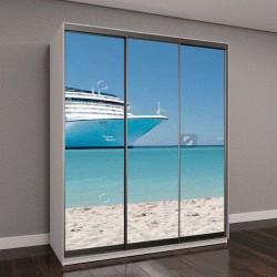 """Шкаф купе с фотопечатью """"круизный корабль на Карибском море, неподалеку от пляжа"""""""