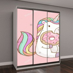 """Шкаф купе с фотопечатью """"Векторные иллюстрации с милый мультфильм единорог ели вкусные пончики"""""""