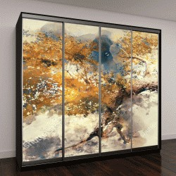 """Шкаф купе с фотопечатью """"Деревья осенью с желтыми листьями, цифровая акварельная живопись"""""""