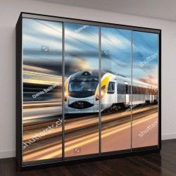 """Шкаф купе с фотопечатью """"высокоскоростной поезд в движении на железнодорожной станции на закате"""""""