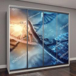 """Шкаф купе с фотопечатью """"молекулы ДНК на синем фоне"""""""