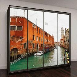 """Шкаф купе с фотопечатью """"Канал в Венеции, колокольня"""""""