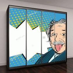 """Шкаф купе с фотопечатью """"21 ноября 2016 года: портрет Альберта Эйнштейна с высунутым языком в вектор поп-арт стиле комиксов"""""""