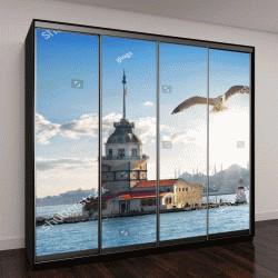 """Шкаф купе с фотопечатью """"чайка летит рядом с башней в Стамбуле, Турция"""""""
