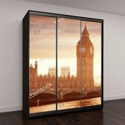 """Шкаф купе с фотопечатью """"Биг Бен и Вестминстер на закате, Лондон, Великобритания"""""""
