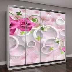 """Шкаф купе с фотопечатью """"3D цветы абстракция"""""""