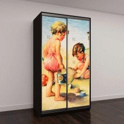 """Шкаф купе с фотопечатью """"открытка ГДР: мальчик и девочка на пляже"""""""