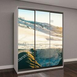 """Шкаф купе с фотопечатью """"Сноубордист, сидя на закате на момент отдыха в Французских Альпах горнолыжный курорт - концепция зимних видов спорта с приключениями парня, на вершине горы готовы ехать вниз -"""