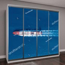 """Шкаф купе с фотопечатью """"Большой контейнерный корабль в море, аэросъёмка"""""""