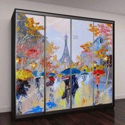 """Шкаф купе с фотопечатью """"Картина маслом Эйфелева башня, Франция"""""""