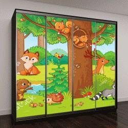 """Шкаф купе с фотопечатью """"Милые лесные животные в детском стиле"""""""