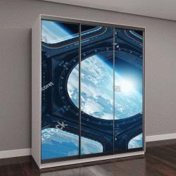 """Шкаф купе с фотопечатью """"Вид из окна на планету Земля с космической станции """""""