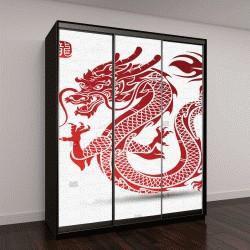 """Шкаф купе с фотопечатью """"китайский дракон, векторные иллюстрации"""""""