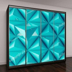 """Шкаф купе с фотопечатью """"Синие тетраэдры, орнамент"""""""
