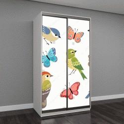 """Шкаф купе с фотопечатью """"Набор красочных птиц и бабочек на белом фоне"""""""
