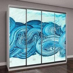 """Шкаф купе с фотопечатью """"абстрактная картина из синих волн"""""""