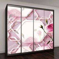 """Шкаф купе с фотопечатью """"3D цветочные абстрактные обои для стен, 3D визуализация"""""""