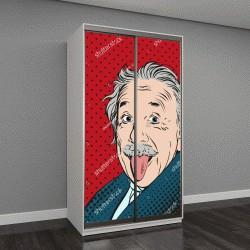 """Шкаф купе с фотопечатью """"портрет Альберта Эйнштейна в стиле ретро-комиксов"""""""