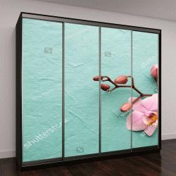 """Шкаф купе с фотопечатью """"Розовые орхидеи на деревянном фоне"""""""