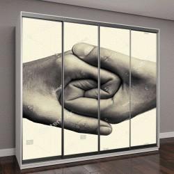 """Шкаф купе с фотопечатью """"Мужские и женские руки соединены друг с другом """""""