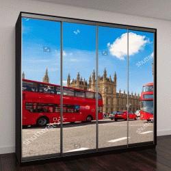 """Шкаф купе с фотопечатью """"Биг-Бен, Вестминстерский мост и красный двухэтажный автобус в Лондоне, Англия, Великобритания"""""""
