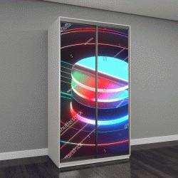 """Шкаф купе с фотопечатью """"3D визуализация, современный абстрактных геометрических фон, минималистичный пустые витрины, сияющий неоновым светом, примитивные архитектурные формы, дисплей магазина макет,"""
