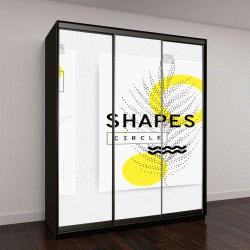 """Шкаф купе с фотопечатью """"Универсальный шаблон тенденция сочетается с ярким эффектным геометрическим листьев желтый состав элементов"""""""