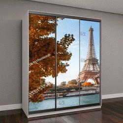 """Шкаф купе с фотопечатью """"Сена в Париже с Эйфелевой башни в осеннее время"""""""