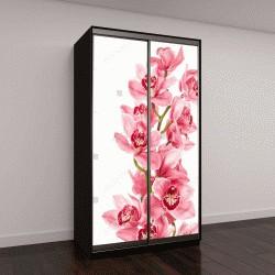 """Шкаф купе с фотопечатью """"Цветки орхидеи на белом фоне"""""""