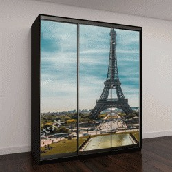 """Шкаф купе с фотопечатью """"Эйфелева башня, кованые решетки на Марсовом поле в Париже, Франция"""""""