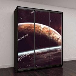 """Шкаф купе с фотопечатью """"Космический арт, фантастичные обои"""""""