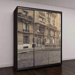 """Шкаф купе с фотопечатью """"небольшая улица в Париже с видом на знаменитую Эйфелеву башню - панорама"""""""