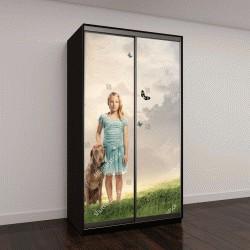 """Шкаф купе с фотопечатью """"Молодая девушка блондинка с собачкой на Волшебной горе"""""""
