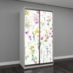 """Шкаф купе с фотопечатью """"Ручная роспись цветы и растения на белом фоне"""""""