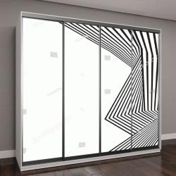 """Шкаф купе с фотопечатью """"черные и белые волны, абстрактный дизайн"""""""
