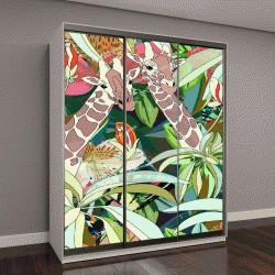 """Шкаф купе с фотопечатью """"Абстрактные акварельные иллюстрации, три жирафа"""""""