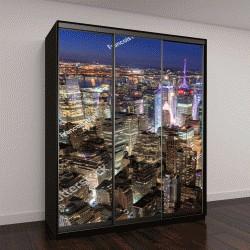 """Шкаф купе с фотопечатью """"небоскребы, освещенные в ночное время (Таймс-Сквер)"""""""