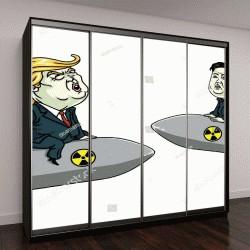 """Шкаф купе с фотопечатью """"карикатура Дональд Трамп против Ким Чен Ына """""""