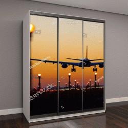 """Шкаф купе с фотопечатью """"посадка на закате в аэропорту Брюсселя"""""""