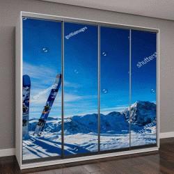 """Шкаф купе с фотопечатью """"Катание на лыжах в зимний сезон, горы и лыжи для бэккантри """""""